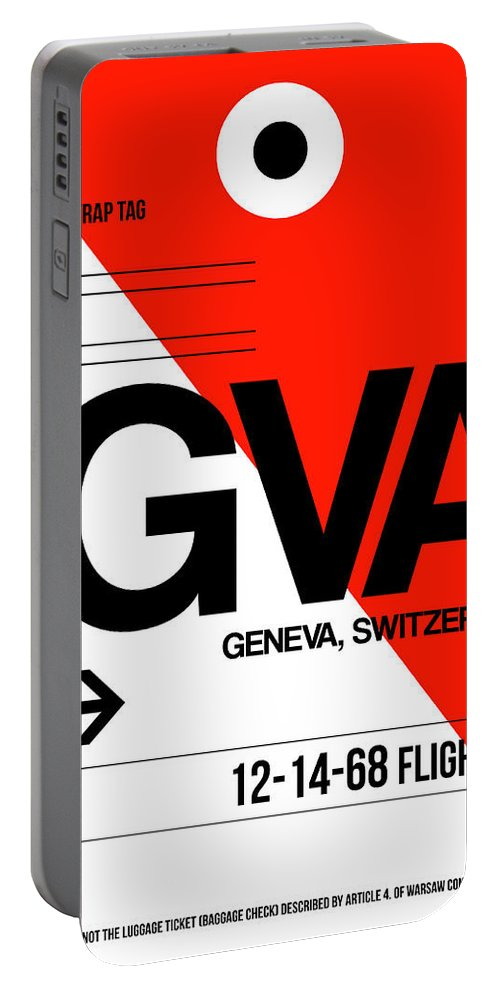 Vacation Portable Battery Charger featuring the digital art Gva Geneva Luggage Tag I by Naxart Studio