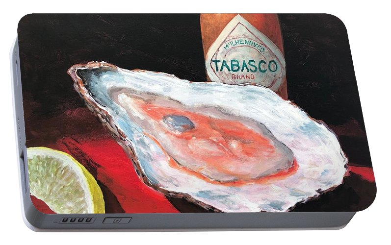 Oyster Portable Battery Charger featuring the painting Half Shell by Paul Emig