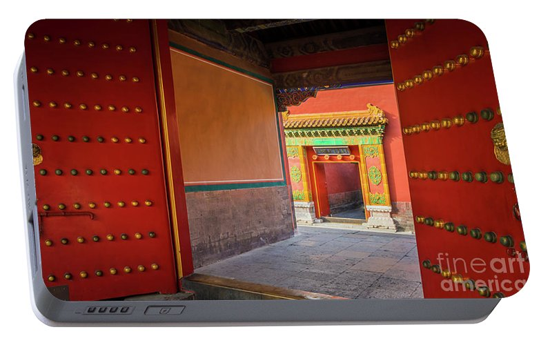 Asia Portable Battery Charger featuring the photograph Hall Of Earthly Tranquility by Inge Johnsson