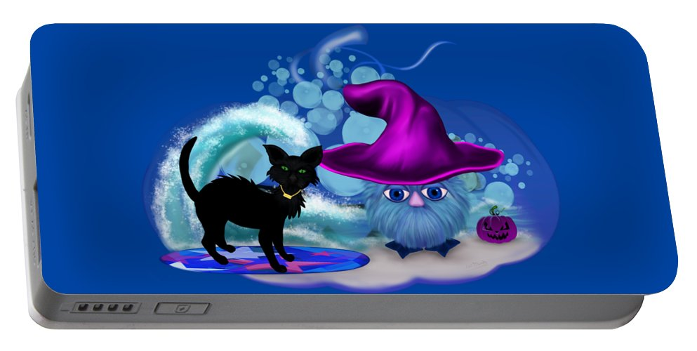 Halloween Portable Battery Charger featuring the digital art Halloween at the Beach by Renate Janssen