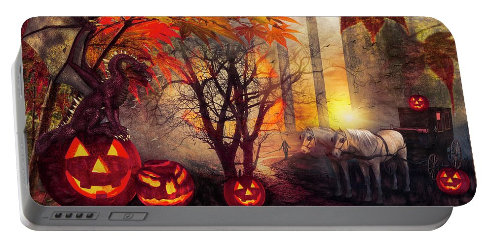 Dragon Portable Battery Charger featuring the digital art Halloween Night by Debra and Dave Vanderlaan