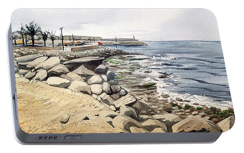 Arguineguin Portable Battery Charger featuring the painting Harbour In Arguineguin, Gran Canaria by Sami Matilainen