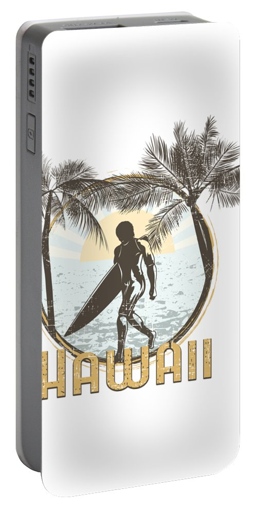 Beach Portable Battery Charger featuring the digital art Hawaii Surfer On Beach by Passion Loft