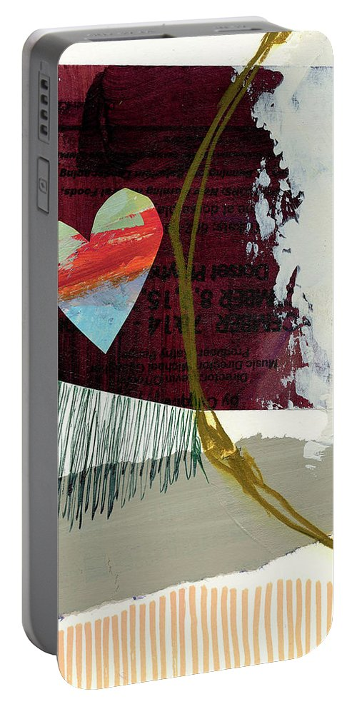 Abstract Art Portable Battery Charger featuring the painting Heart #27 by Jane Davies