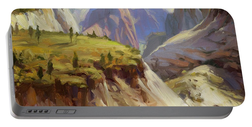 Zion Portable Battery Charger featuring the painting High On Zion by Steve Henderson