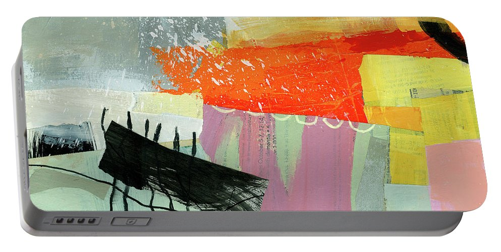 Abstract Art Portable Battery Charger featuring the painting Hitting The Fan #12 by Jane Davies