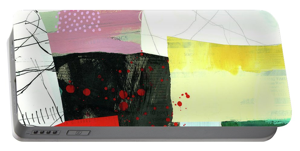 Abstract Art Portable Battery Charger featuring the painting Hitting The Fan #9 by Jane Davies
