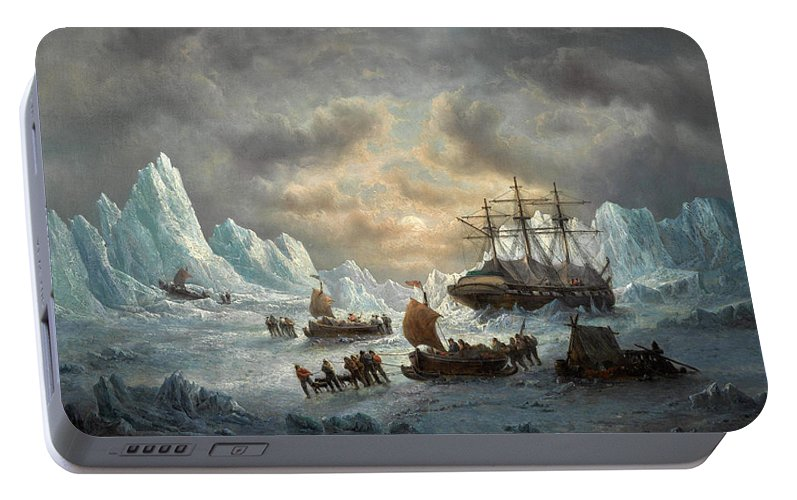 Francois Musin Portable Battery Charger featuring the painting Hms Resolute In Search Of Sir John Franklin by Francois Musin