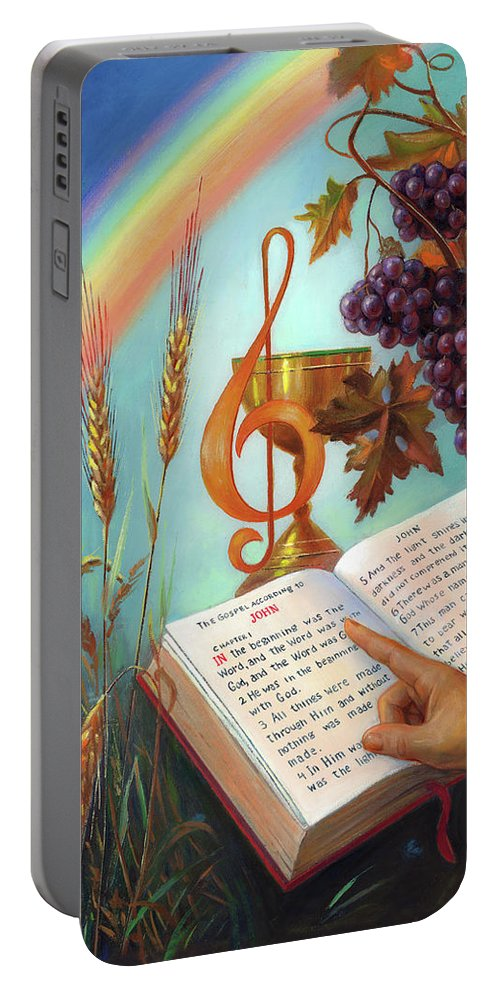 Holy Portable Battery Charger featuring the painting Holy Bible - The Gospel According to John by Svitozar Nenyuk