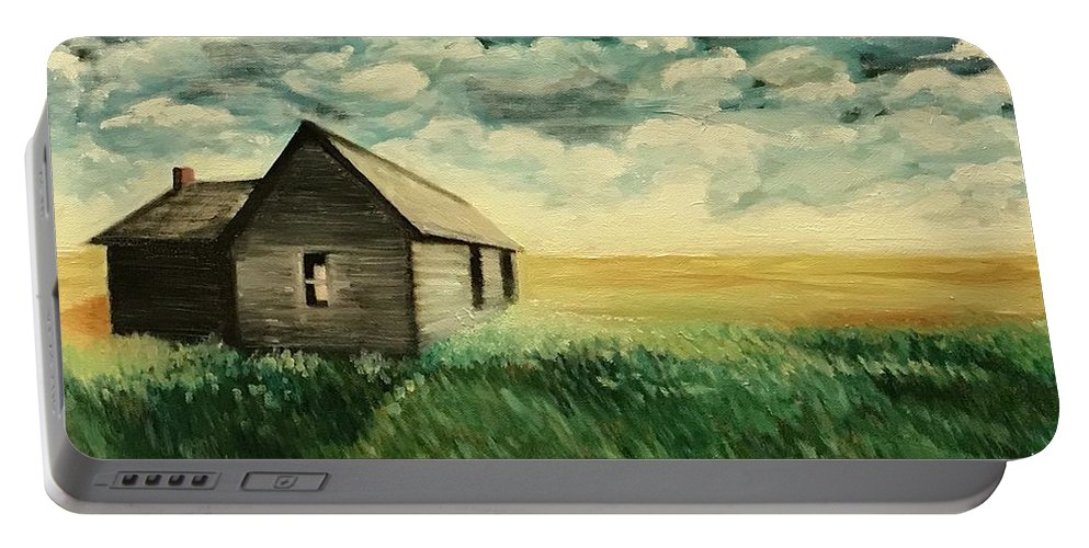 Oil Painting Portable Battery Charger featuring the painting Homestead by Boni Arendt