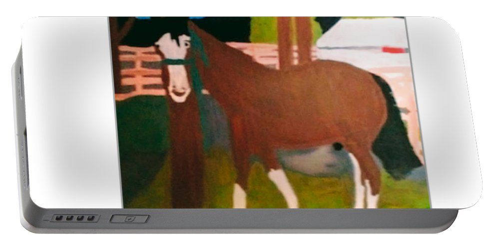 Horse On A Ranch Art For Sale. Portable Battery Charger featuring the painting Horse On A Ranch by Linda Jennings