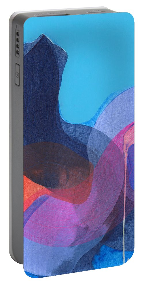 Abstract Portable Battery Charger featuring the painting How Did It Get To Be So Late? by Claire Desjardins
