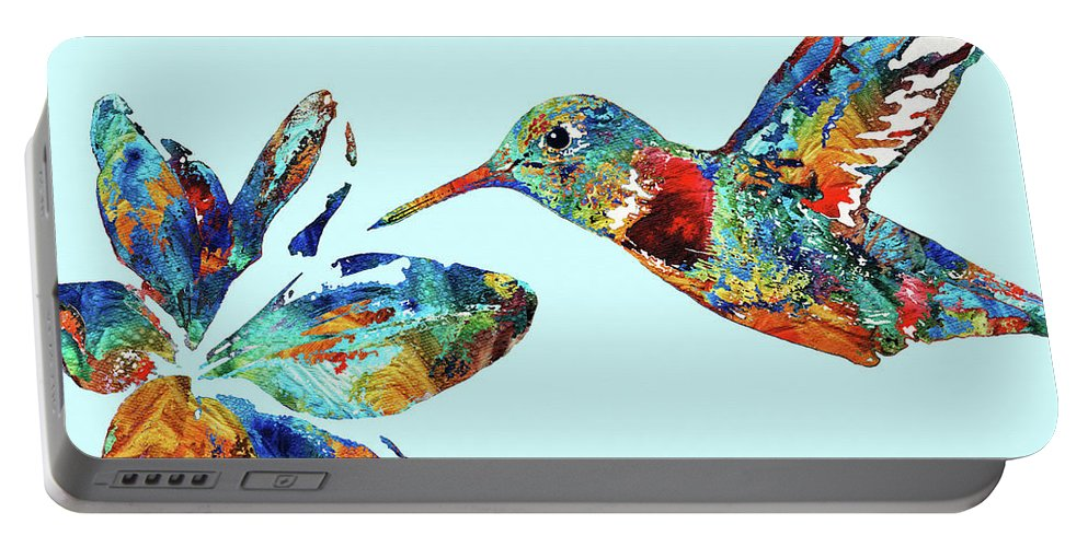 Hummingbird Portable Battery Charger featuring the painting Hummingbird Blue - Sharon Cummings by Sharon Cummings