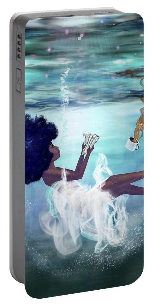 Bible Portable Battery Charger featuring the painting I aint drowning by Artist RiA
