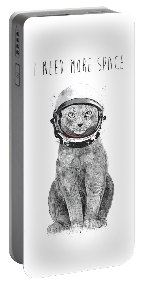 Cat Portable Battery Charger featuring the drawing I need more space by Balazs Solti