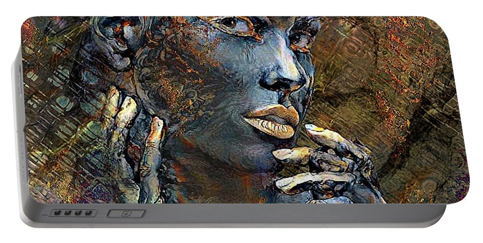 Imperfection Portable Battery Charger featuring the mixed media Imperfection Is Beauty by G Berry