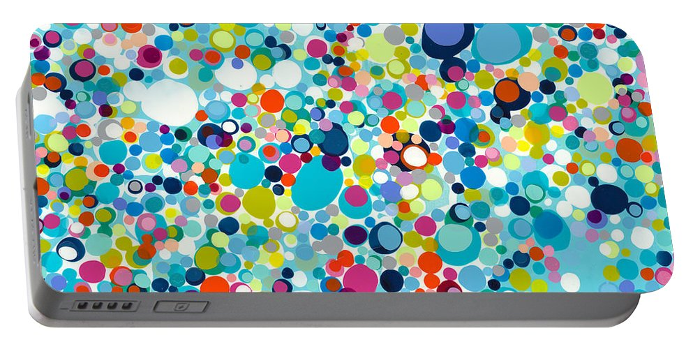 Abstract Portable Battery Charger featuring the painting In The Meantime by Claire Desjardins