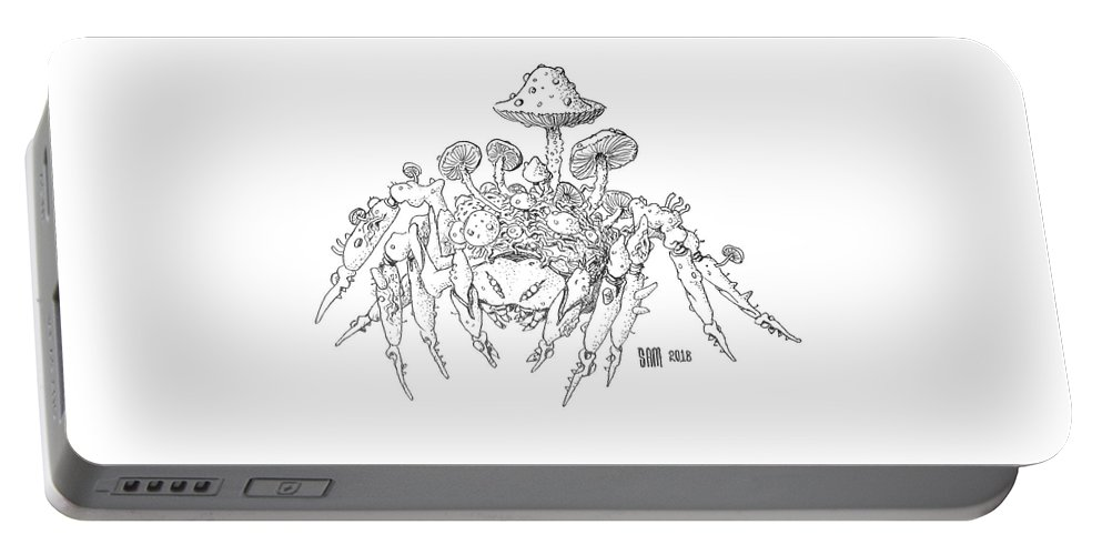 Spider Portable Battery Charger featuring the drawing Infested Spider by Sami Matilainen