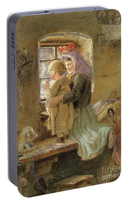 Mom Portable Battery Charger featuring the painting Interior Peasant Girl And Child by C Goebel