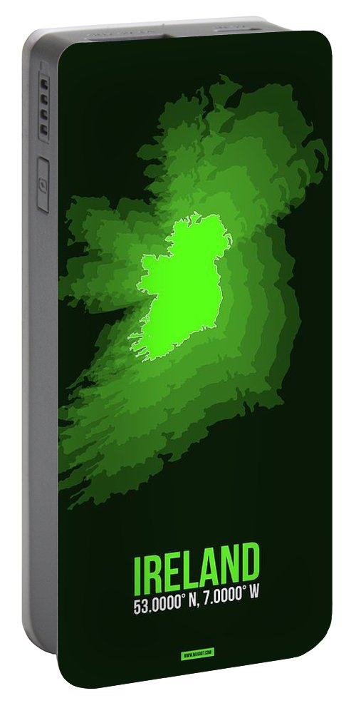 Ireland Portable Battery Charger featuring the pyrography Ireland Radiant Map 2 by Naxart Studio