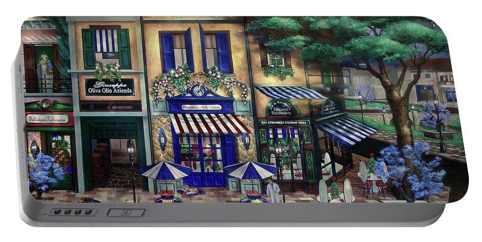 Italian Portable Battery Charger featuring the mixed media Italian Cafe by Curtiss Shaffer