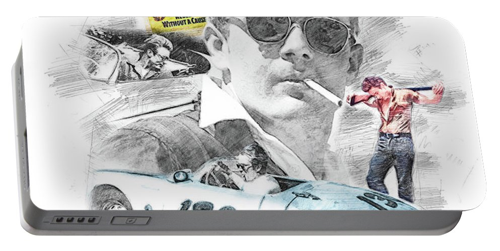 Movie Star Portable Battery Charger featuring the drawing James Dean by Theodor Decker