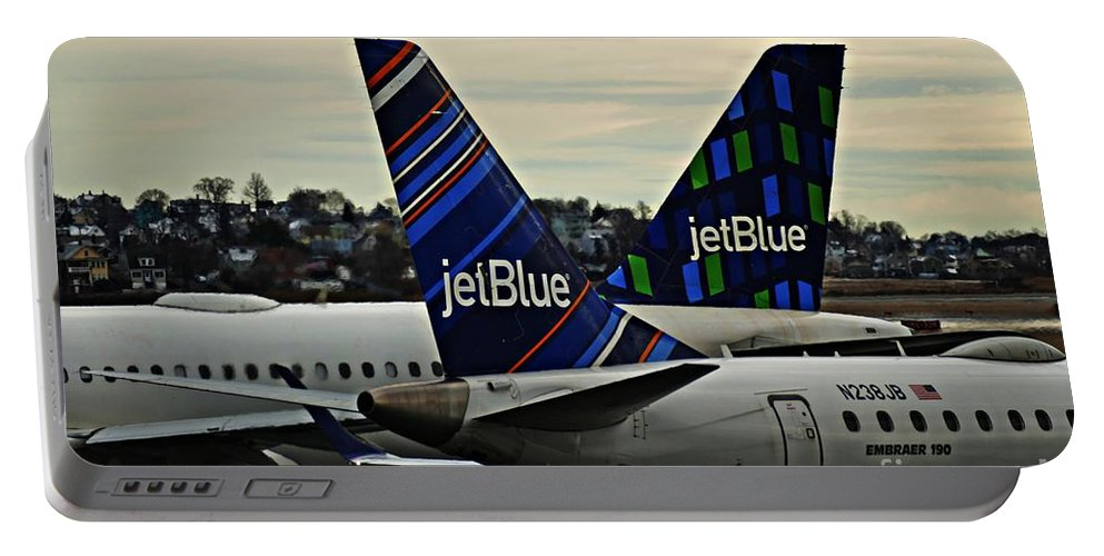 Jet Portable Battery Charger featuring the photograph Jetblue Crossing  by Sarah Loft