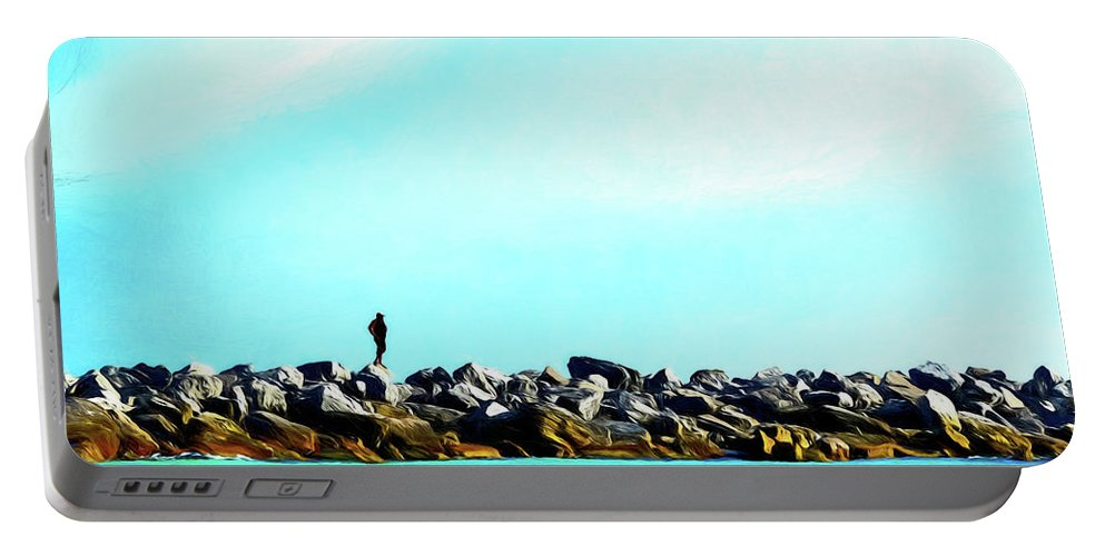 Beach Portable Battery Charger featuring the digital art Jetty Thoughts by Michael Campbell