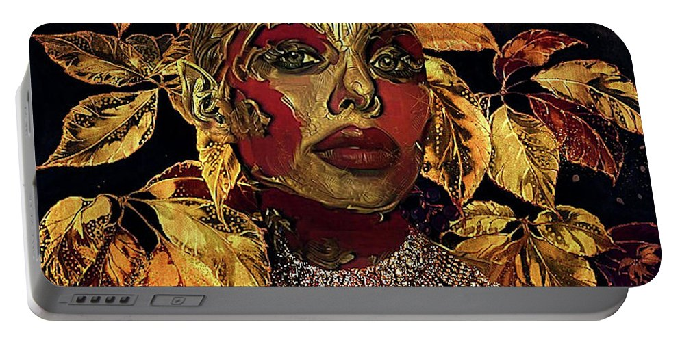 Jewel Portable Battery Charger featuring the mixed media Jewel 002 by G Berry