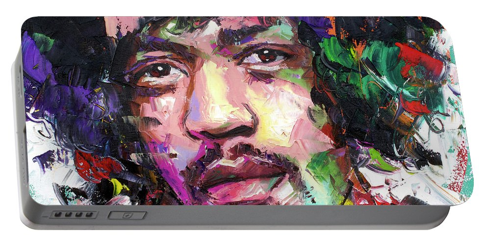 Jimi Portable Battery Charger featuring the painting Jimi Hendrix IV by Richard Day