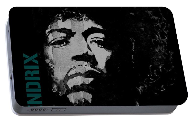 Jimi Hendrix Portable Battery Charger featuring the mixed media Jimi Hendrix - Retro Black by Paul Lovering