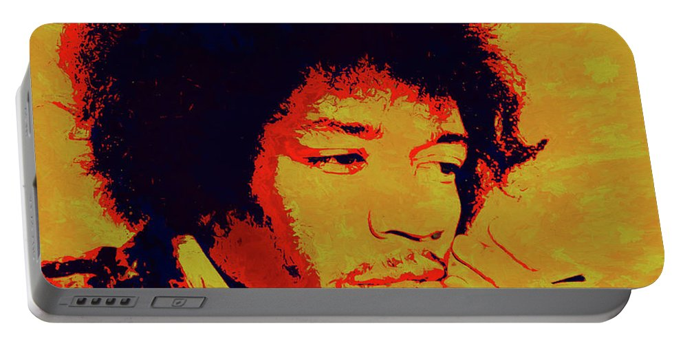 Jimi Pop Icon Portable Battery Charger featuring the painting Jimi Pop Icon by Dan Sproul