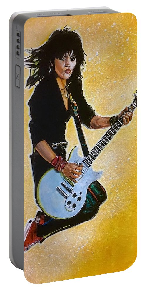 Joan Jett Portable Battery Charger featuring the painting Joan Jett by Joel Tesch