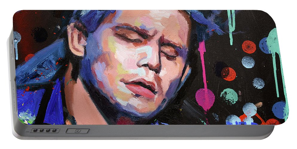 John Mayer Portable Battery Charger featuring the painting John Mayer II by Richard Day