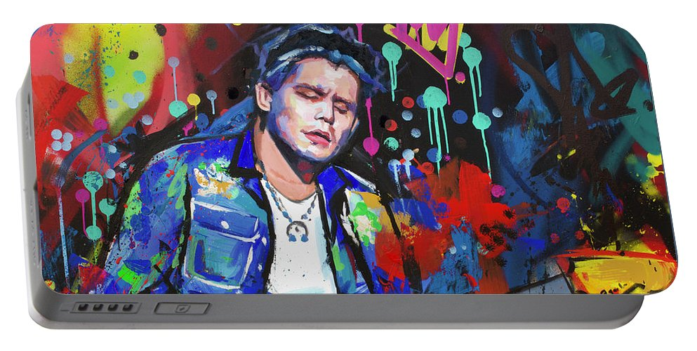 John Mayer Portable Battery Charger featuring the painting John Mayer by Richard Day