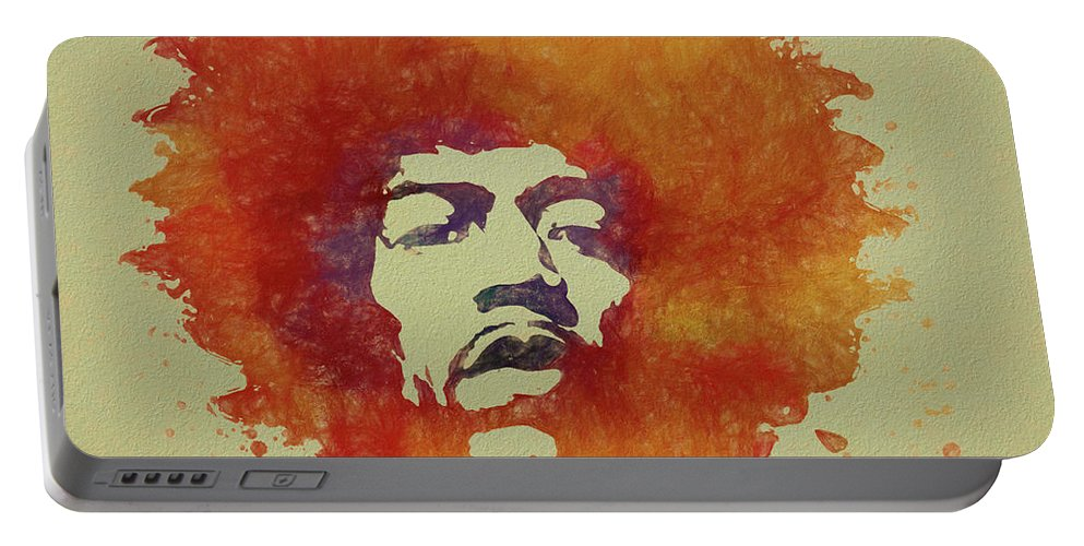 Psychedlic Portable Battery Charger featuring the painting Just Jimi by Dan Sproul