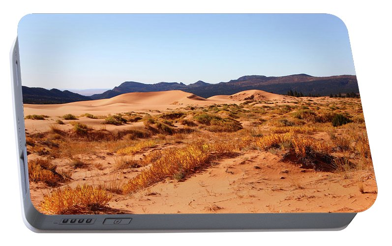 Kanab Coral Dunes Grasses Scrub Mountain Ridge Portable Battery Charger featuring the photograph Kanab Coral Dunes Grasses Scrub Mountain Ridge 6780 by David Frederick