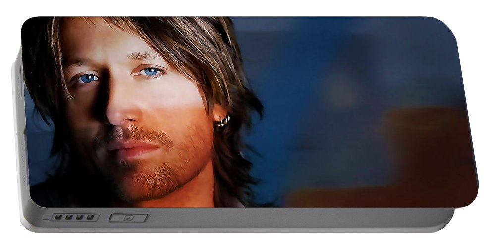 Keith Urban Portable Battery Charger featuring the mixed media Keith Urban by Marvin Blaine