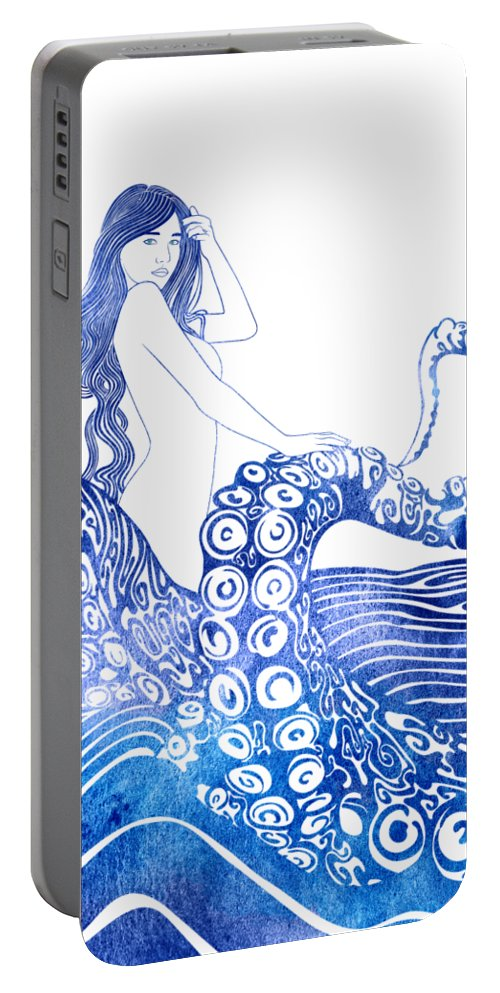 Aqua Portable Battery Charger featuring the mixed media Keto by Stevyn Llewellyn