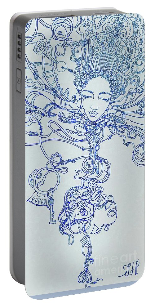 Portable Battery Charger featuring the painting Keys To The Garden by Judy Henninger