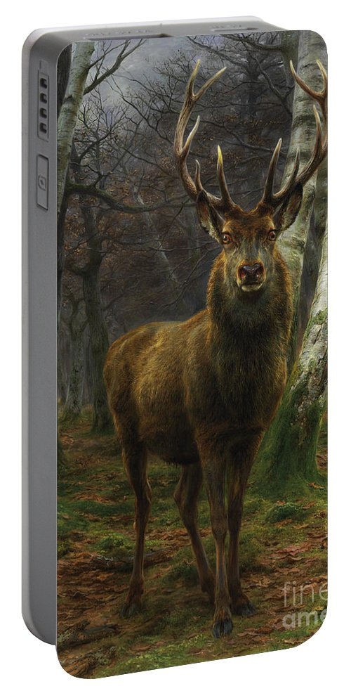 Rosa Bonheur Portable Battery Charger featuring the painting King Of The Forest by Rosa Bonheur