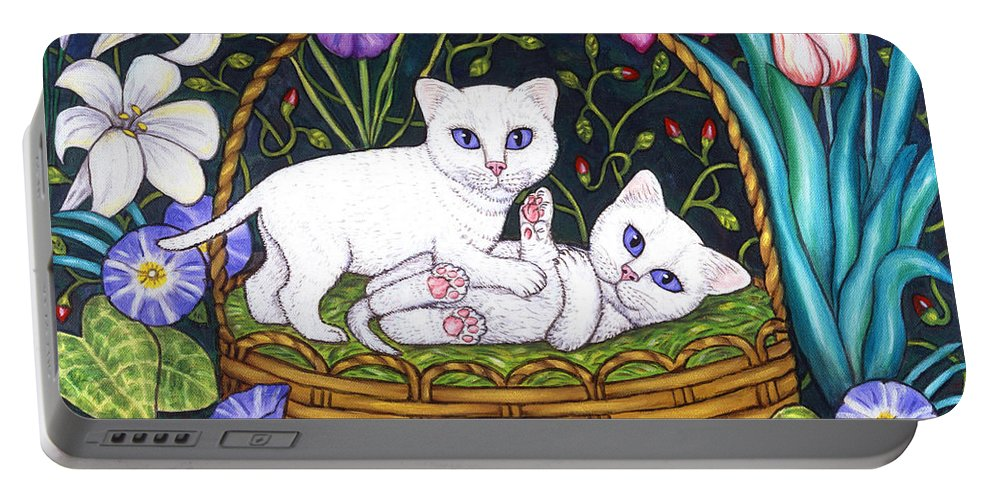Kittens Portable Battery Charger featuring the painting Kittens In A Basket by Linda Mears