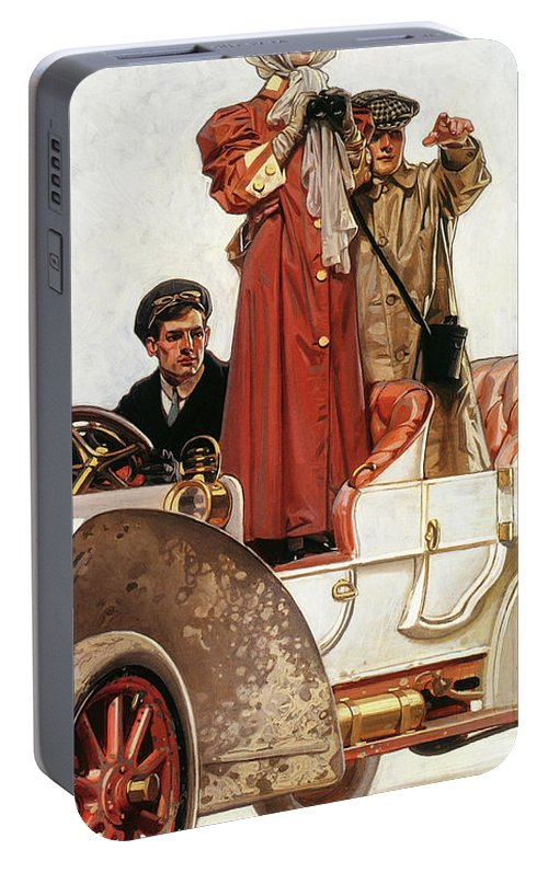 Joseph Christian Leyendecker Portable Battery Charger featuring the painting Lady And Car - Digital Remastered Edition by Joseph Christian Leyendecker