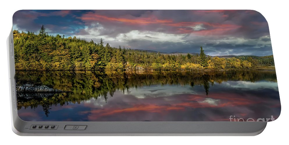 Bodgynydd Portable Battery Charger featuring the photograph Lake Bodgynydd Sunset by Adrian Evans