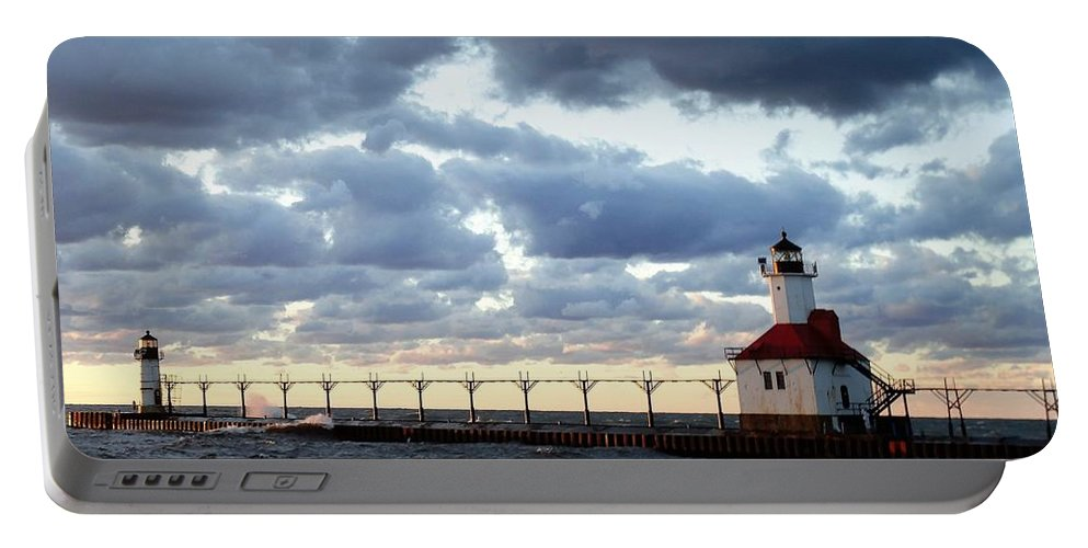 Water Portable Battery Charger featuring the photograph Lake Michigan Lighthouse by Katherine Taibl