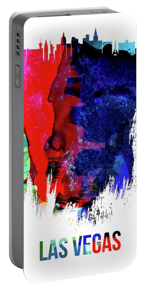 Las Vegas Portable Battery Charger featuring the mixed media Las Vegas Skyline Brush Stroke Watercolor  by Naxart Studio