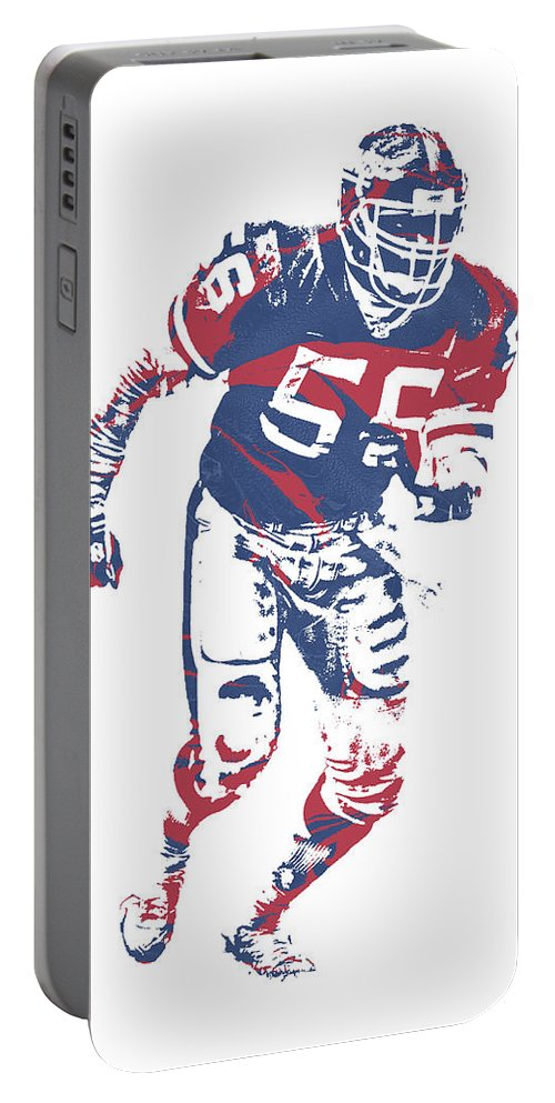 Lawrence Taylor Portable Battery Charger featuring the mixed media Lawrence Taylor New York Giants Pixel Art 3 by Joe Hamilton