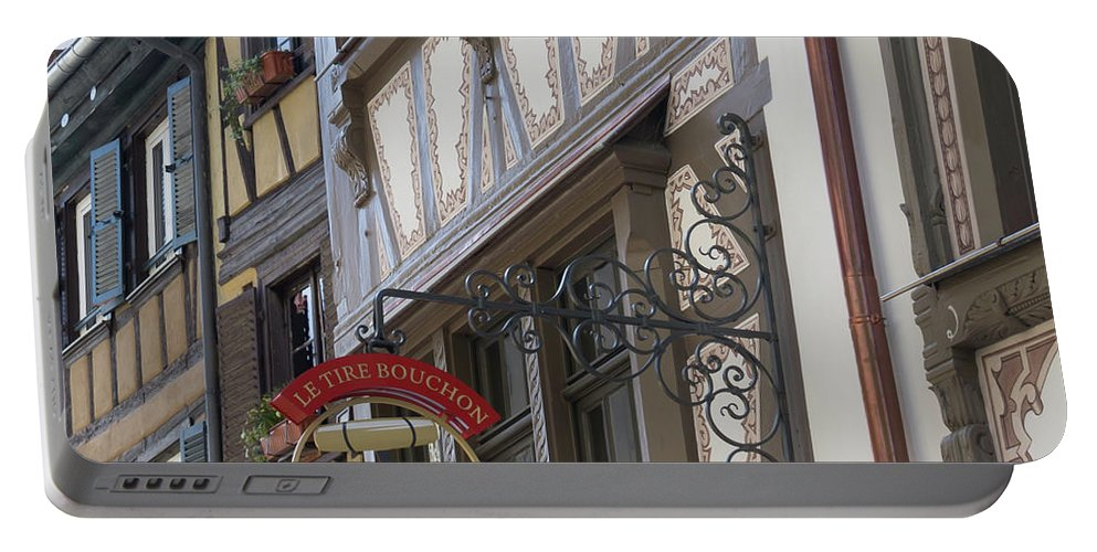 Alsace Portable Battery Charger featuring the photograph Le Tire Bouchon Winstub Sign by Teresa Mucha