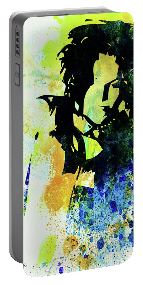 Ani Difranco Portable Battery Charger featuring the mixed media Legendary Ani Difranco Watercolor by Naxart Studio