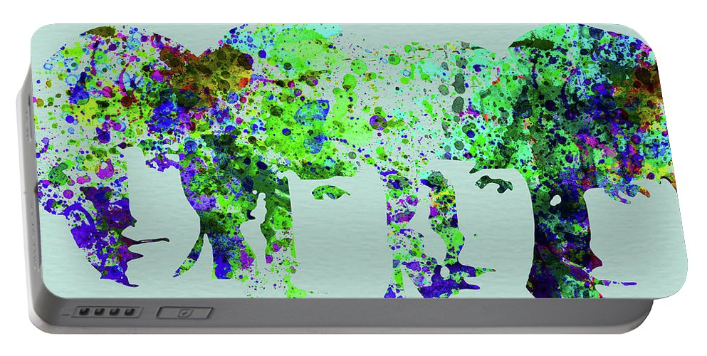 Beatles Portable Battery Charger featuring the mixed media Legendary Beetles Watercolor II by Naxart Studio
